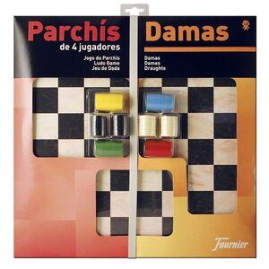 PARCHIS CON DAMAS TABLERO GRANDE 4 JUGADORES 41X40X4,5 FOURNIER